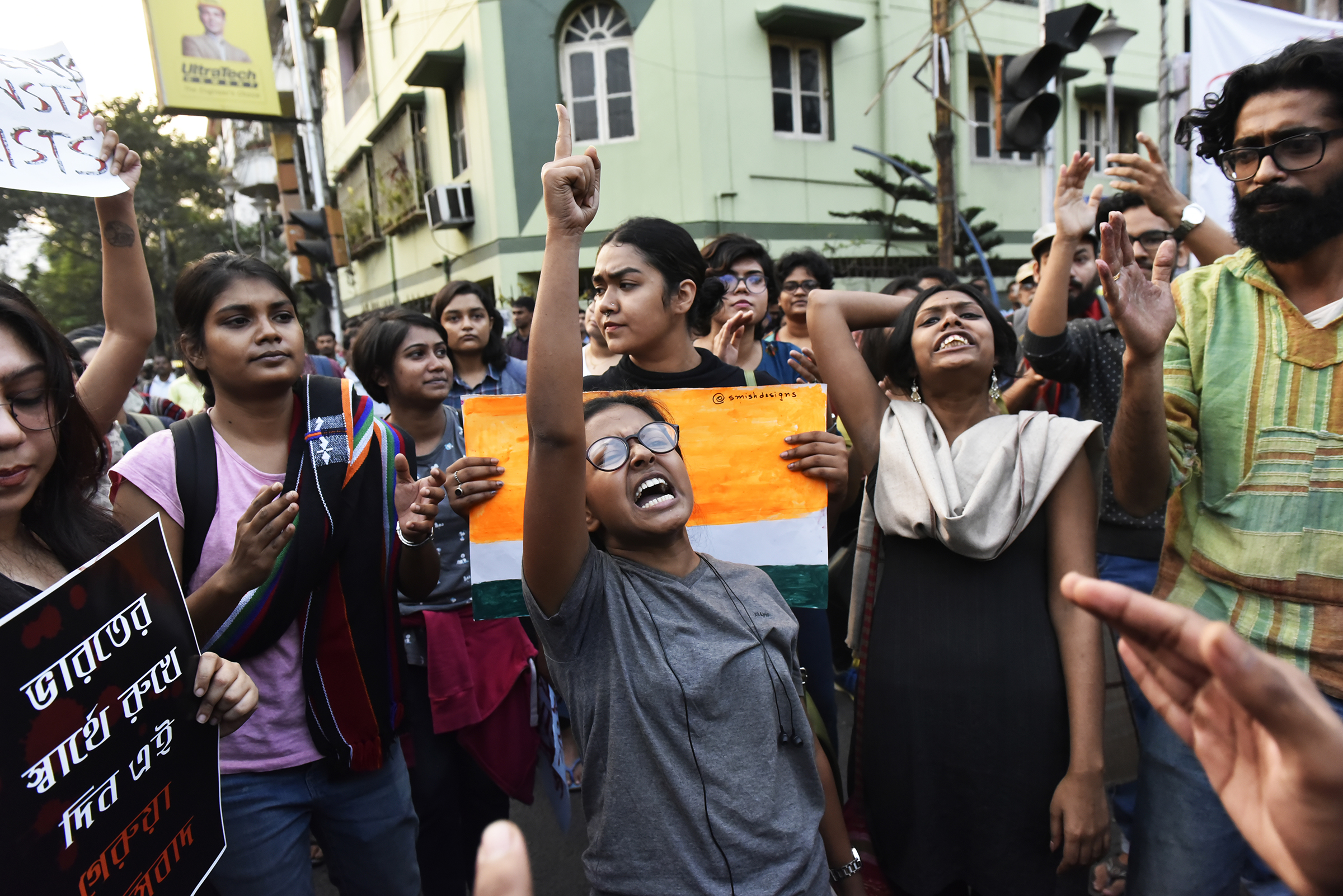Jadavpur University students in Kolkata demonstrate against police brutality towards the students of Jamia Millia Islamia University in New Delhi, who were protesting against the approval of the Citizenship Amendment Bill (CAB) on Dec. 16, 2019.