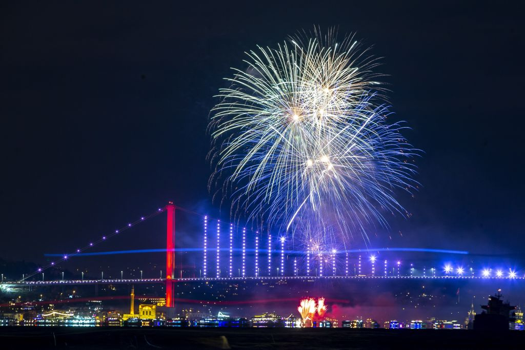 Fireworks go off in front of July 15 Martyrs' Bridge within the new year celebrations in Istanbul, Turkey on January 01, 2020.