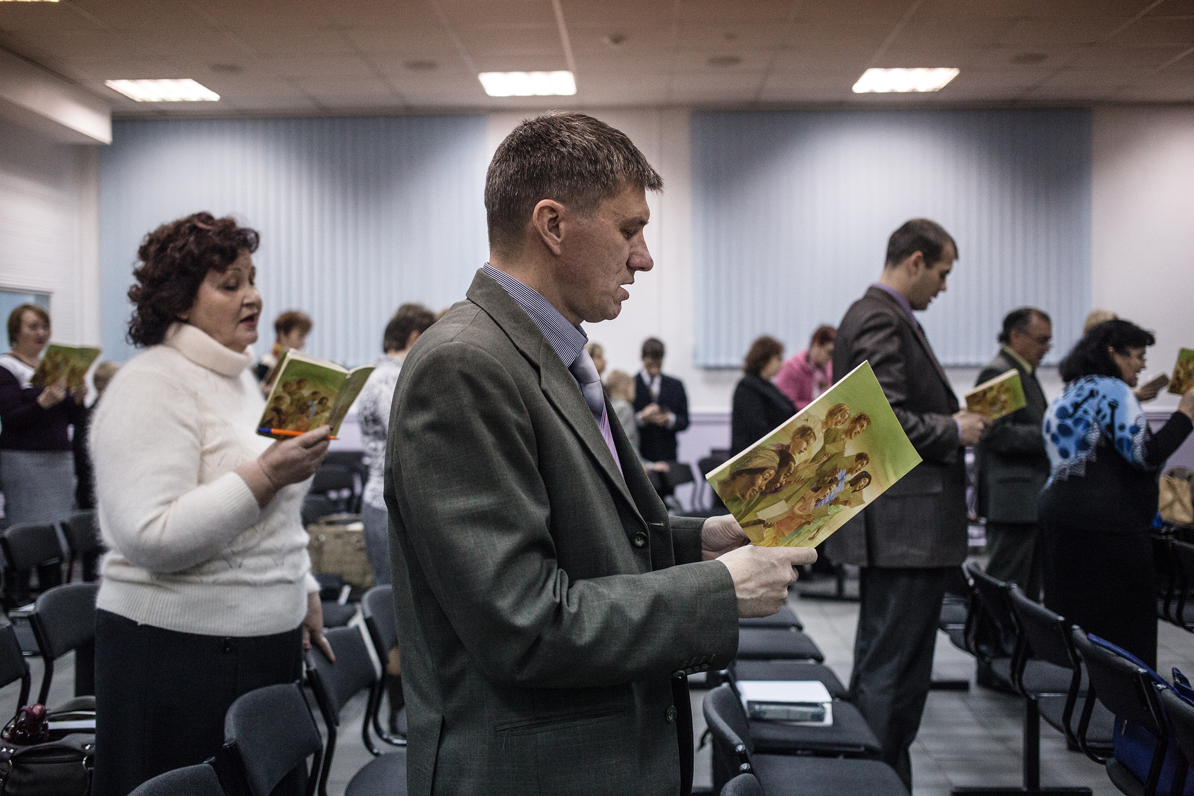 Jehovah's Witnesses sing songs at the beginning of a meeting in Rostov-on-Don on Nov. 13, 2015.