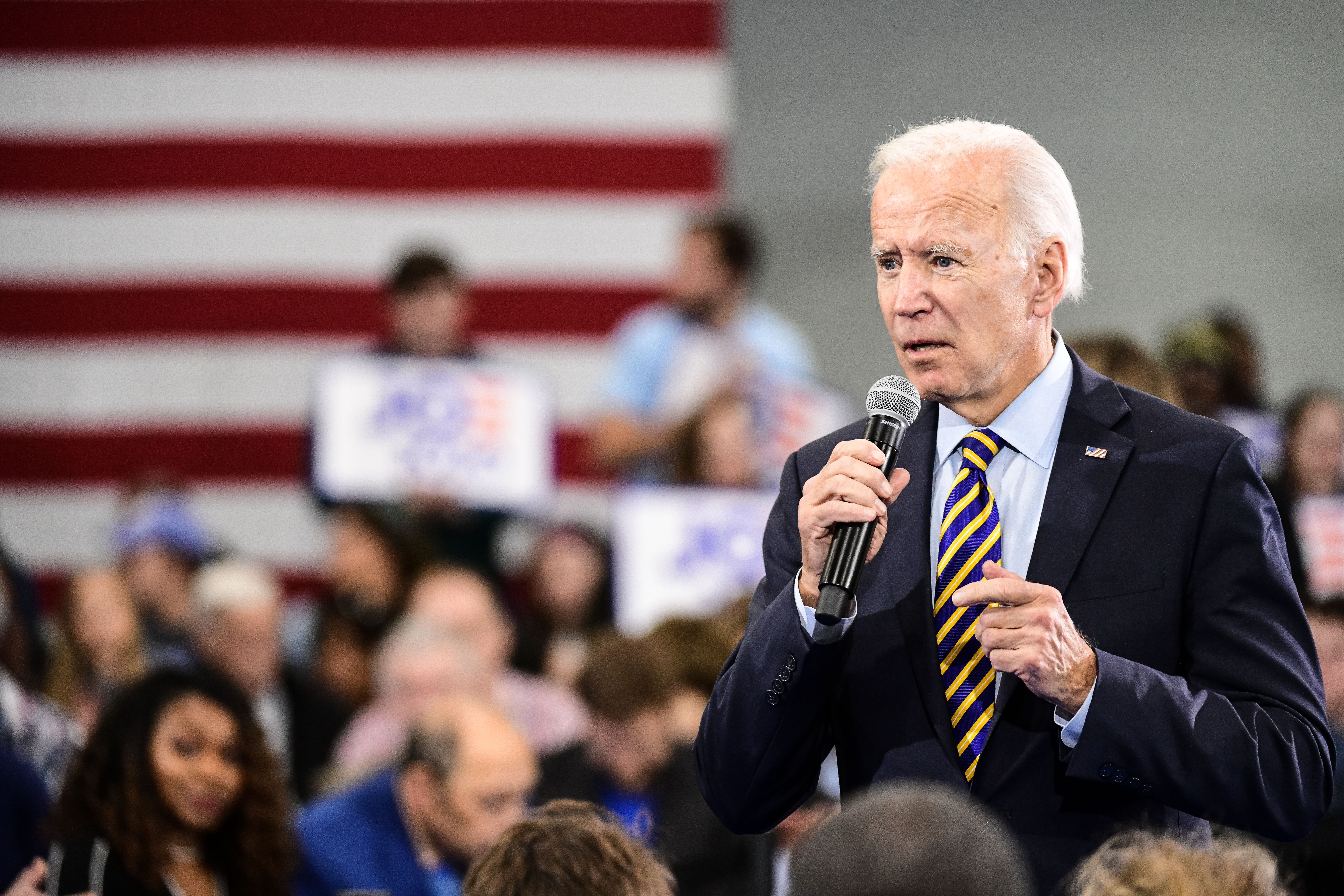 Democratic presidential candidate Joe Biden speaks to the audience during a town hall on Nov. 21, 2019 in Greenwood, South Carolina.