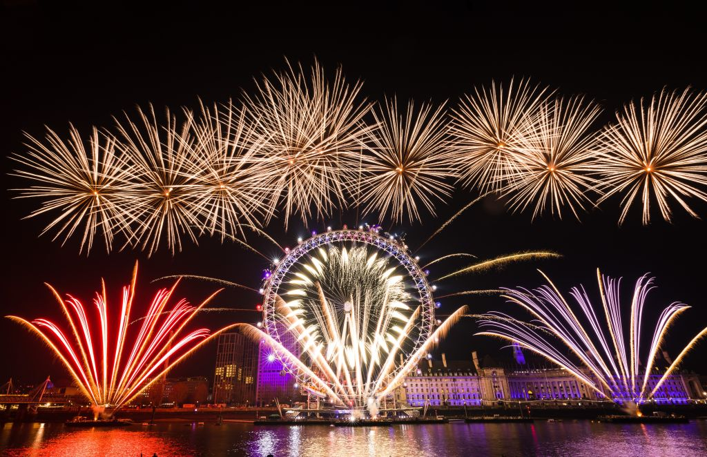 Fireworks light up the sky above the London Eye during the new year celebrations in London, United Kingdom on Jan. 1, 2020.