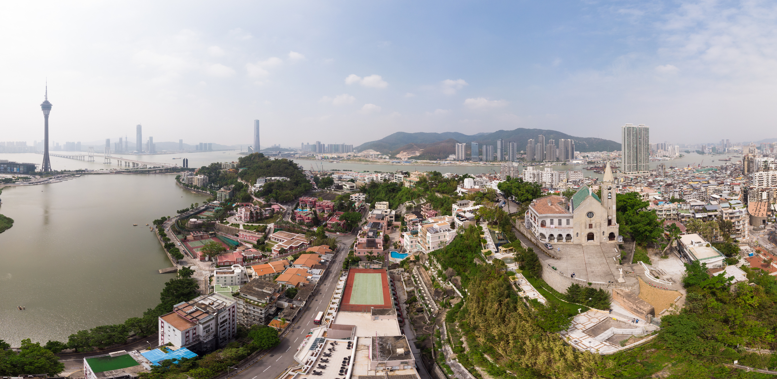 An aerial panorama of Macau.
