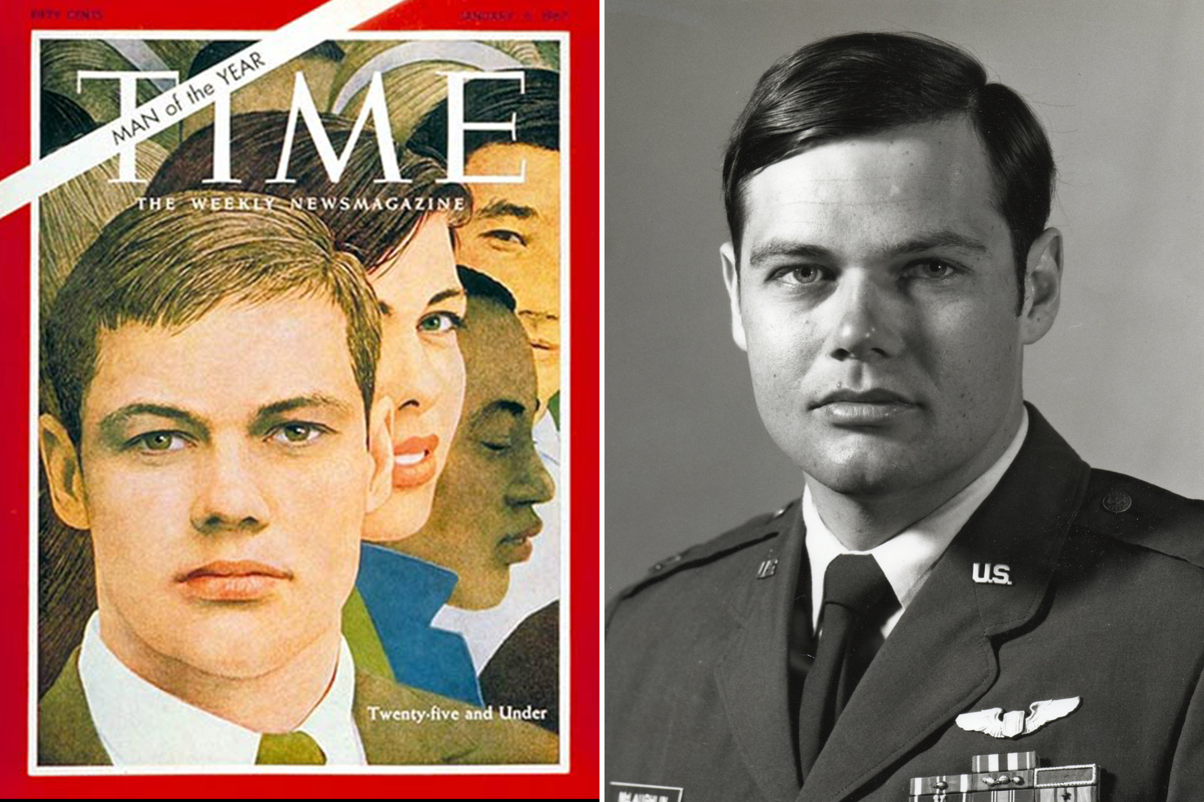 The Person of the Year 1966 cover image, at left, and Thomas McLaughlin in uniform.