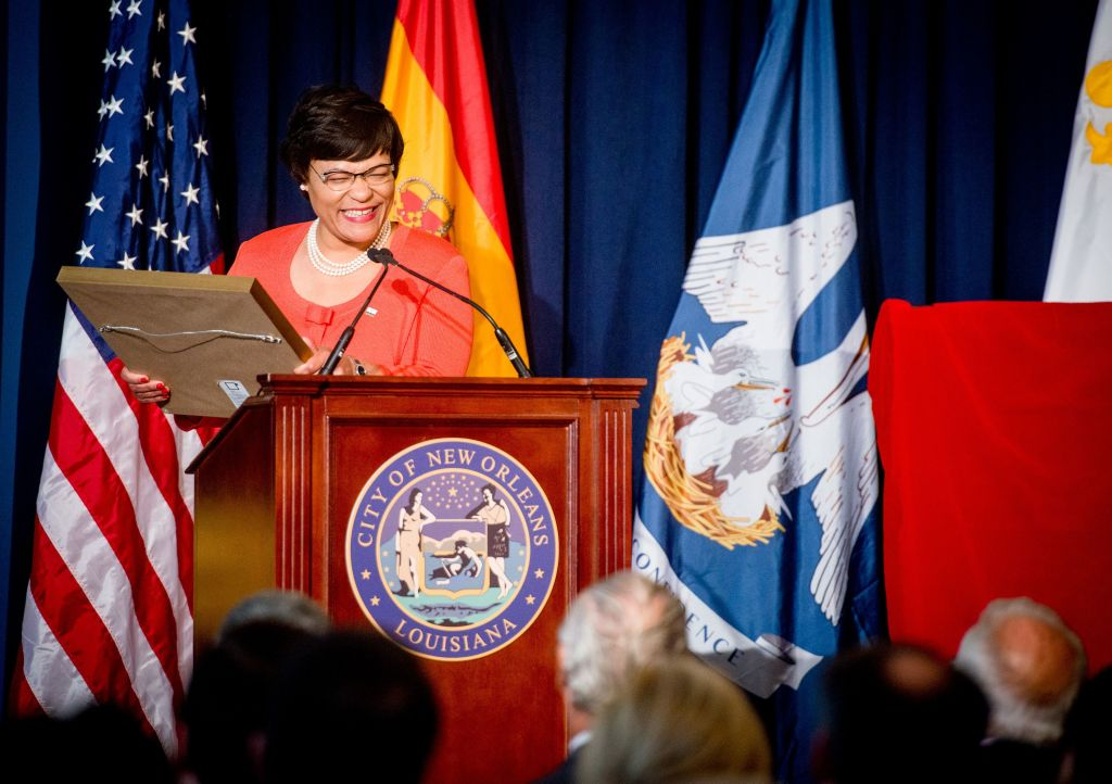 Mayor LaToya Cantrell at the city's Tricentennial celebration at Gallier Hall in New Orleans, La., Friday, June 15, 2018.
