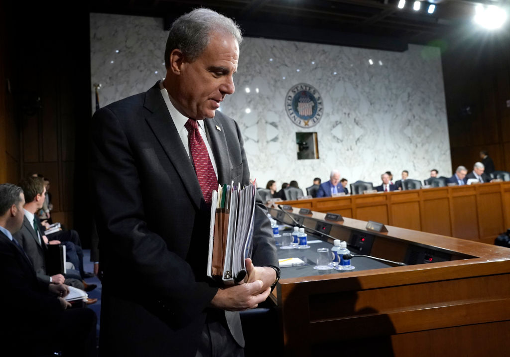 Michael Horowitz, Inspector General for the Justice Department, returns for testimony following a short break before the Senate Judiciary Committee in Washington, DC, on December 11, 2019.