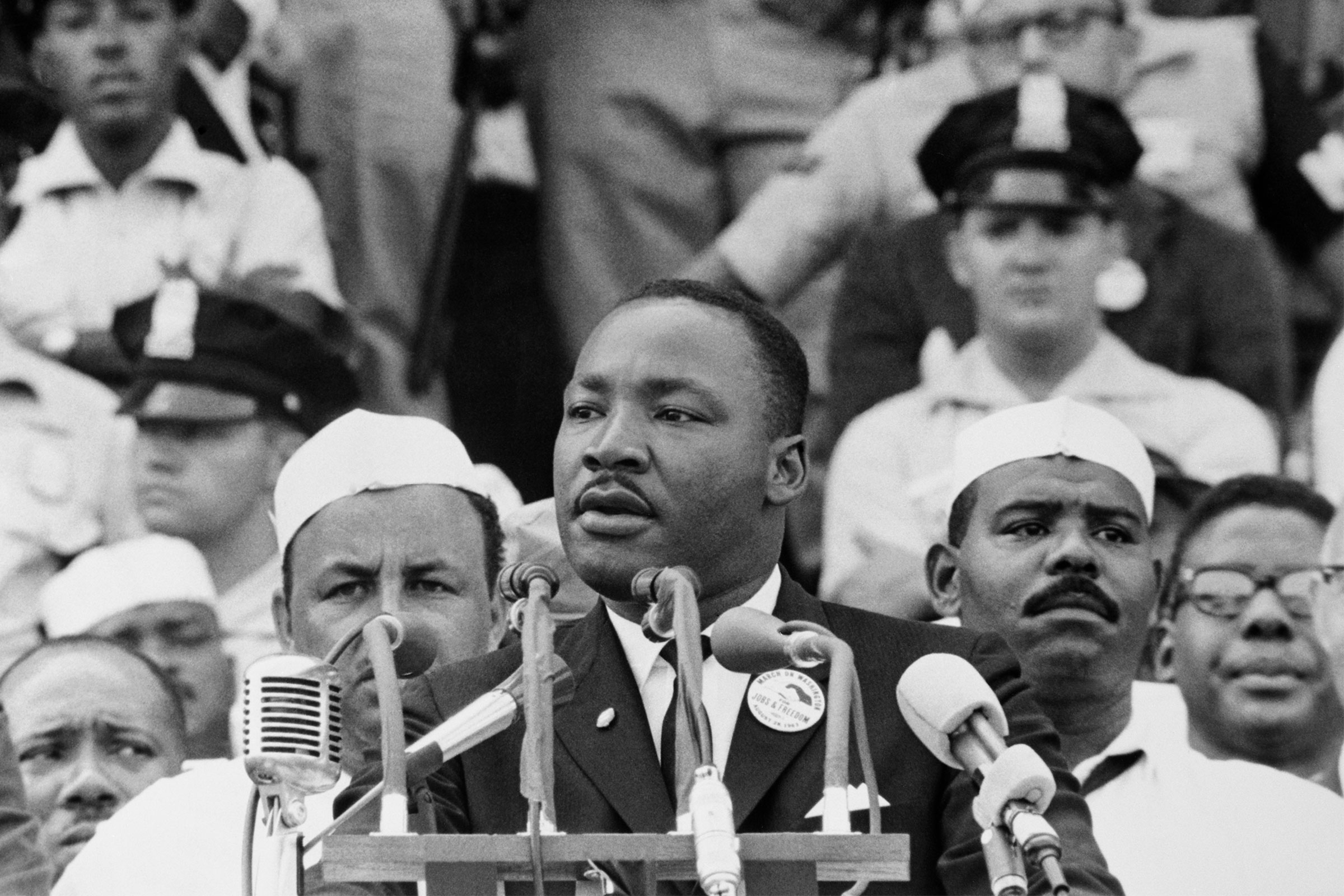 Martin Luther King Jr. gives his  I Have a Dream  speech to a crowd during the March on Washington on August 28, 1963.