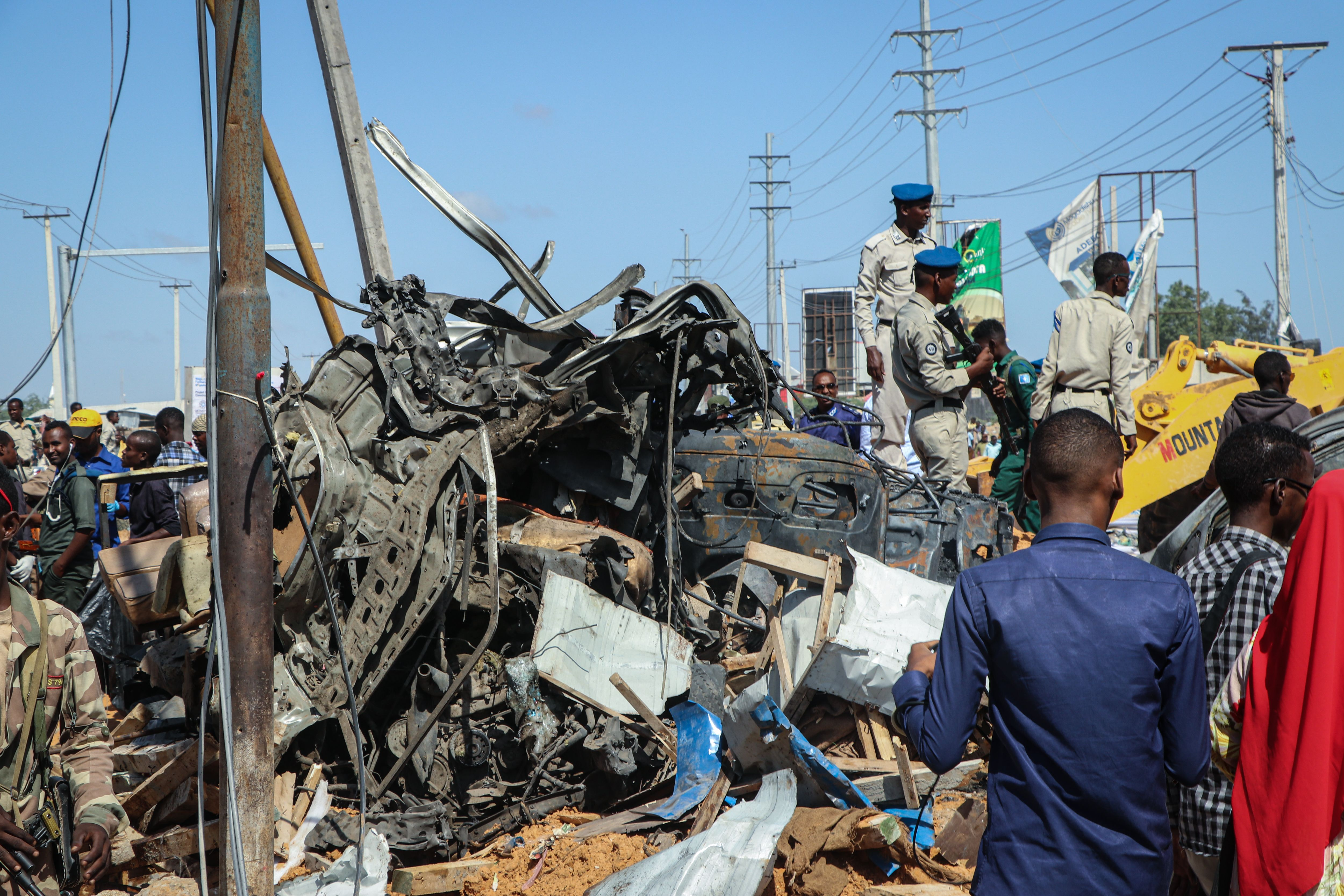 Wreckage in the aftermath of a truck bomb attack is seen in Mogadishu on Dec. 28, 2019.