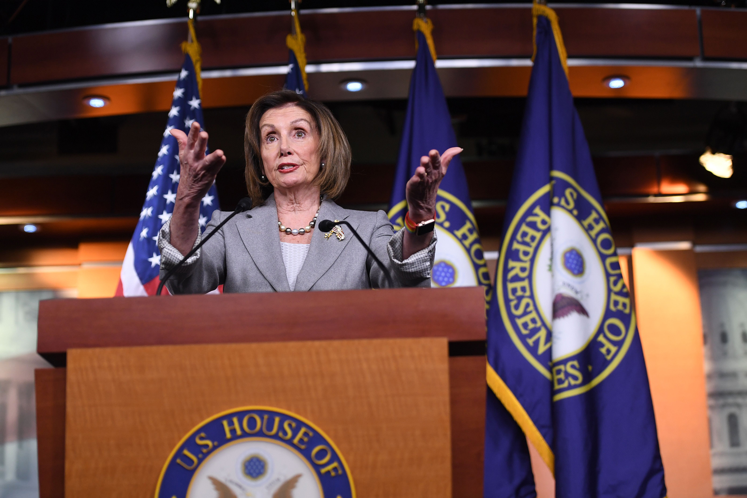 US Speaker of the House Nancy Pelosi speaks during her weekly press conference in Washington, DC on Dec. 12, 2019.