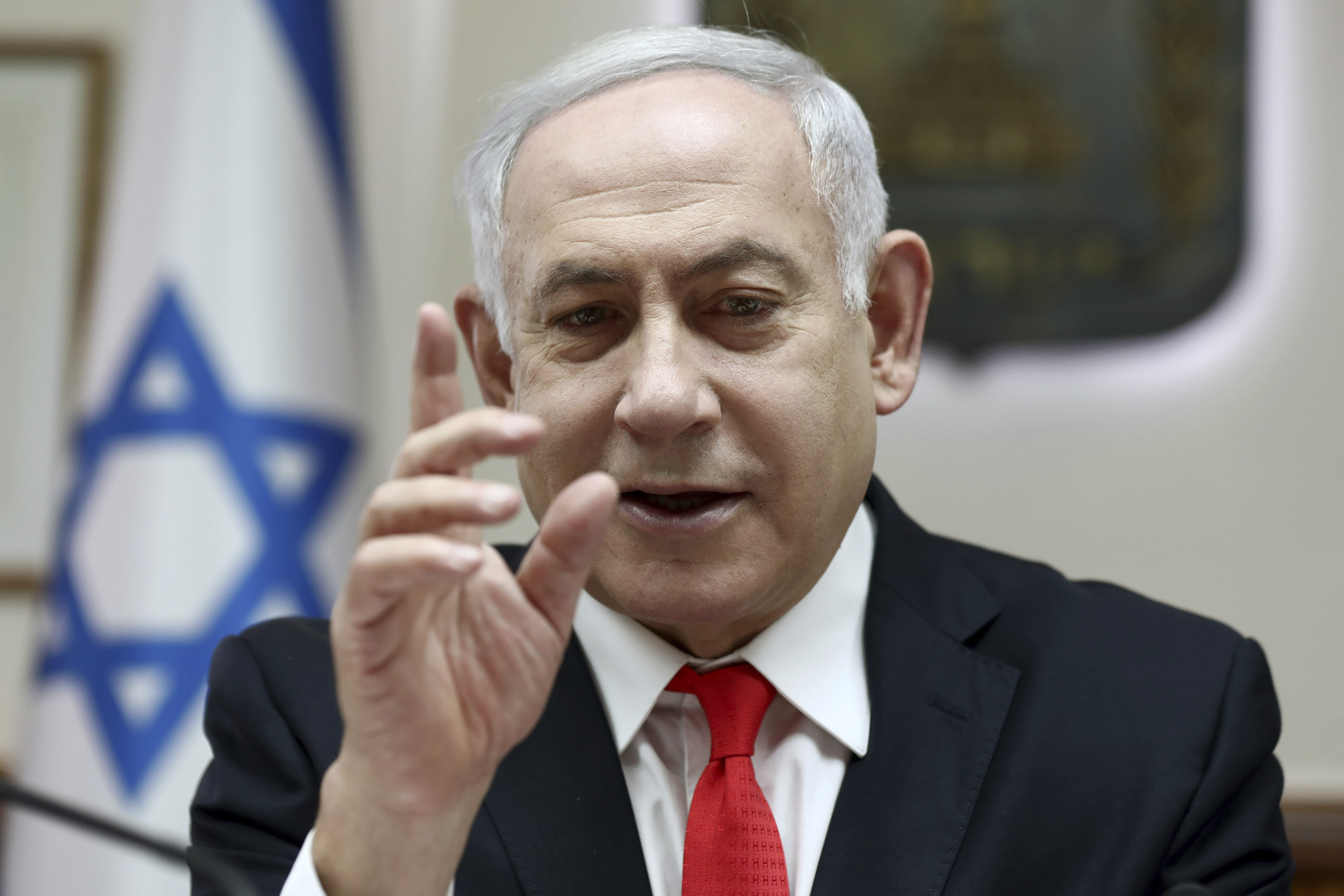 Israeli Prime Minister Benjamin Netanyahu reacts during the weekly cabinet meeting, at his office in Jerusalem, Israel on Dec. 15, 2019.