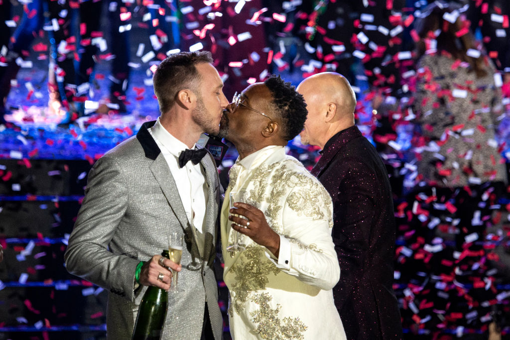 Billy Porter and Adam Porter-Smith celebrate onstage during Dick Clark's New Year's Rockin' Eve Celebration on December 31, 2019 in New Orleans City.