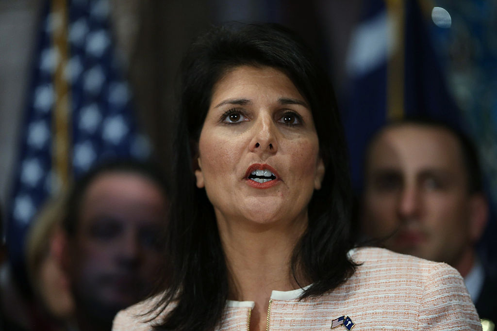 Then-South Carolina Governor Nikki Haley speaks to the media as she asks that the Confederate flag be removed from the state capitol grounds on June 22, 2015 in Columbia, South Carolina.