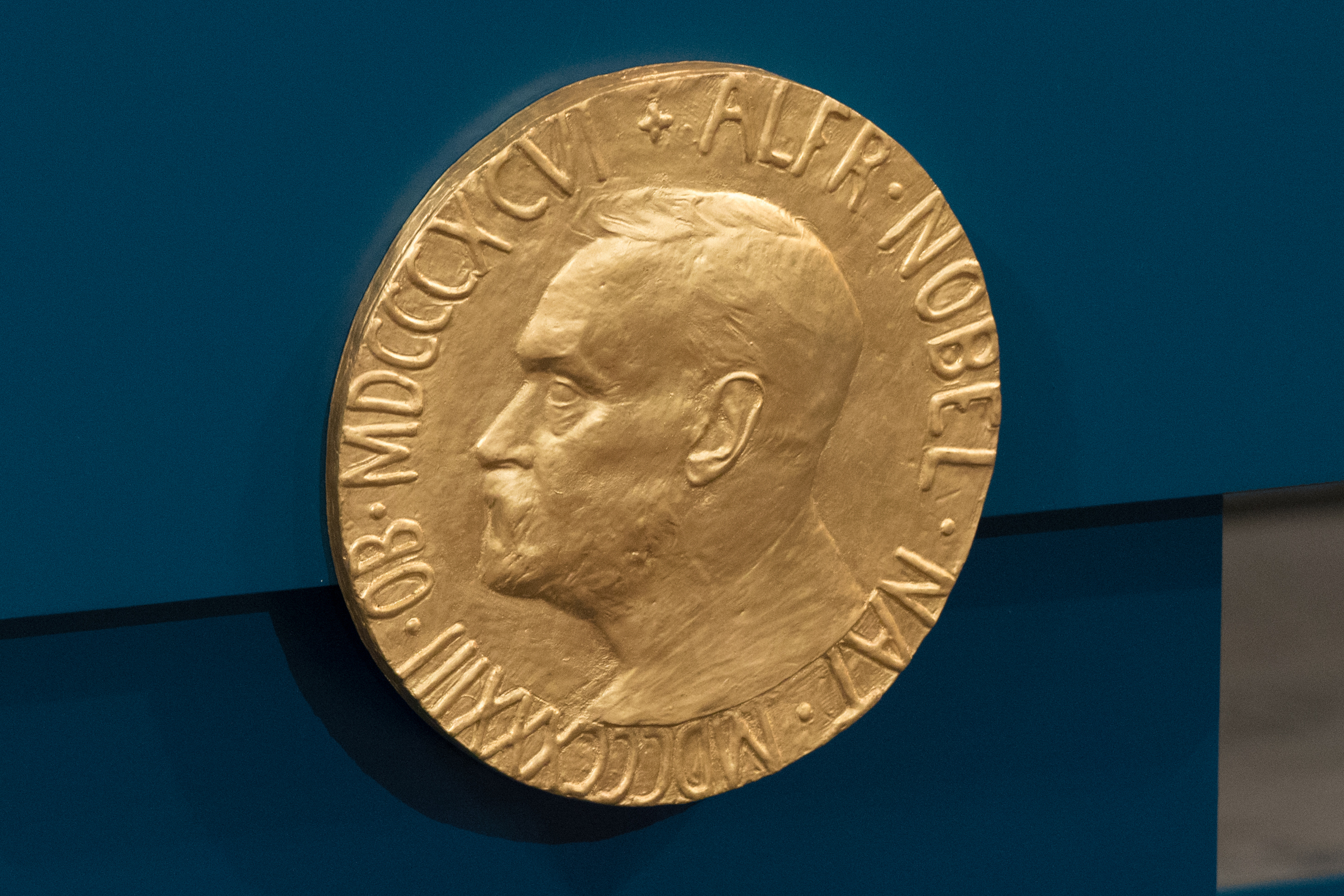 A plaque depicting Alfred Nobel adorns the wall during the Nobel Peace Prize ceremony at Oslo City Town Hall on Dec. 10, 2015 in Oslo.