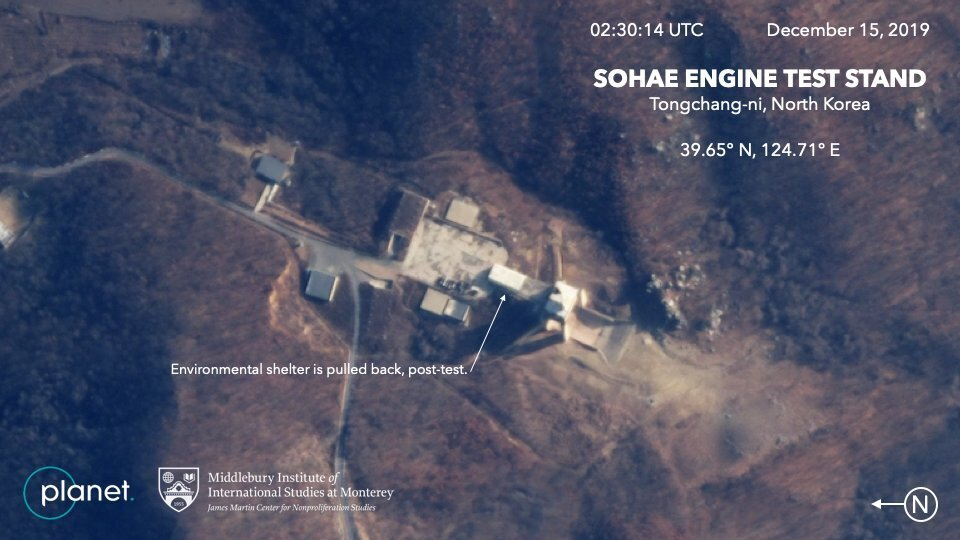 This satellite image from Planet Lab Inc. shows the Sohae Engine Test Stand in Tongchang-ri, North Korea on Dec. 15, 2019.