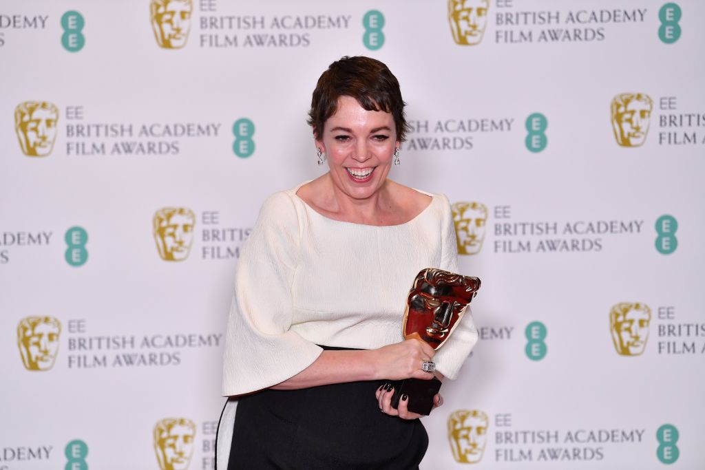 British actress Olivia Colman poses with the award for a Leading Actress for her work on the film 'The Favourite' at the BAFTA British Academy Film Awards at the Royal Albert Hall in London on Feb. 10, 2019.