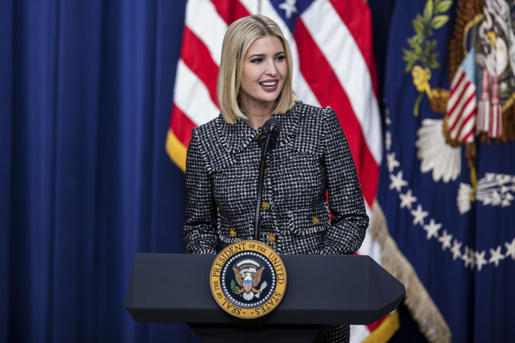 Ivanka Trump, senior adviser to U.S. President Donald Trump, speaks during the White House Summit on Child Care and Paid Leave at the Eisenhower Executive Office Building.