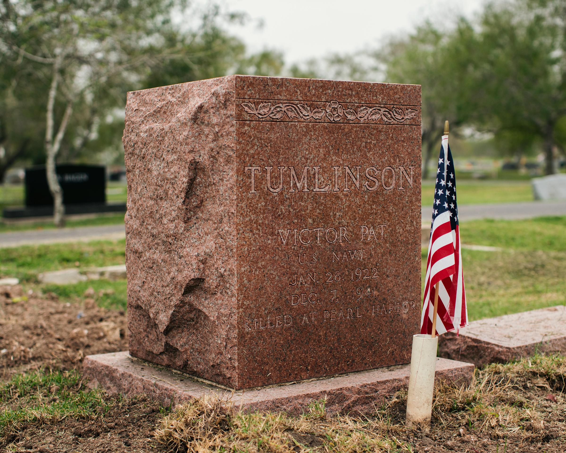 Victor 'Pat' Tumlinson's grave marker at Raymondville Memorial Cemetery in Raymondville, TX.