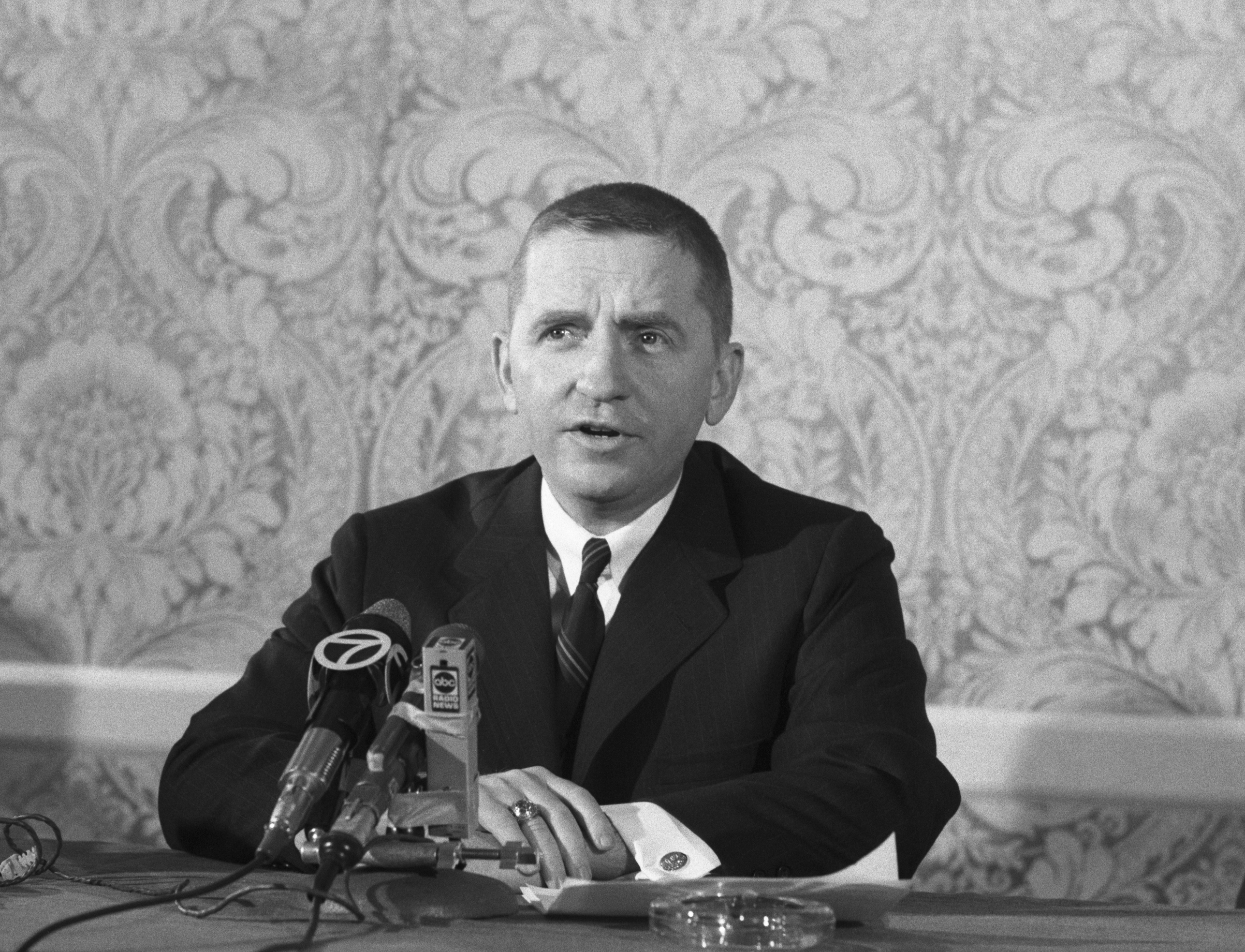 Texas millionaire Ross Perot holds a press conference Dec. 15, 1969, to tell of his plan to fly Christmas packages to U.S. military prisoners in North Vietnam