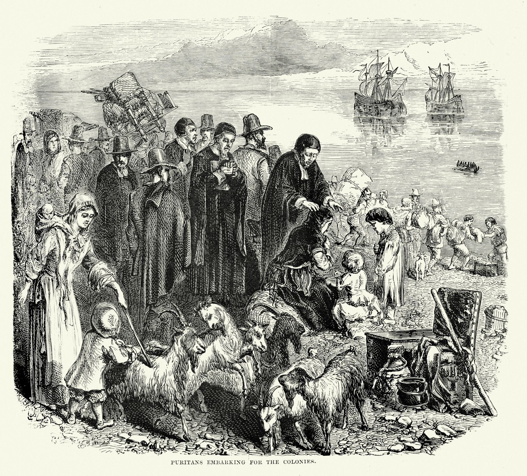 English Puritans embarking for the Colonies in the New World