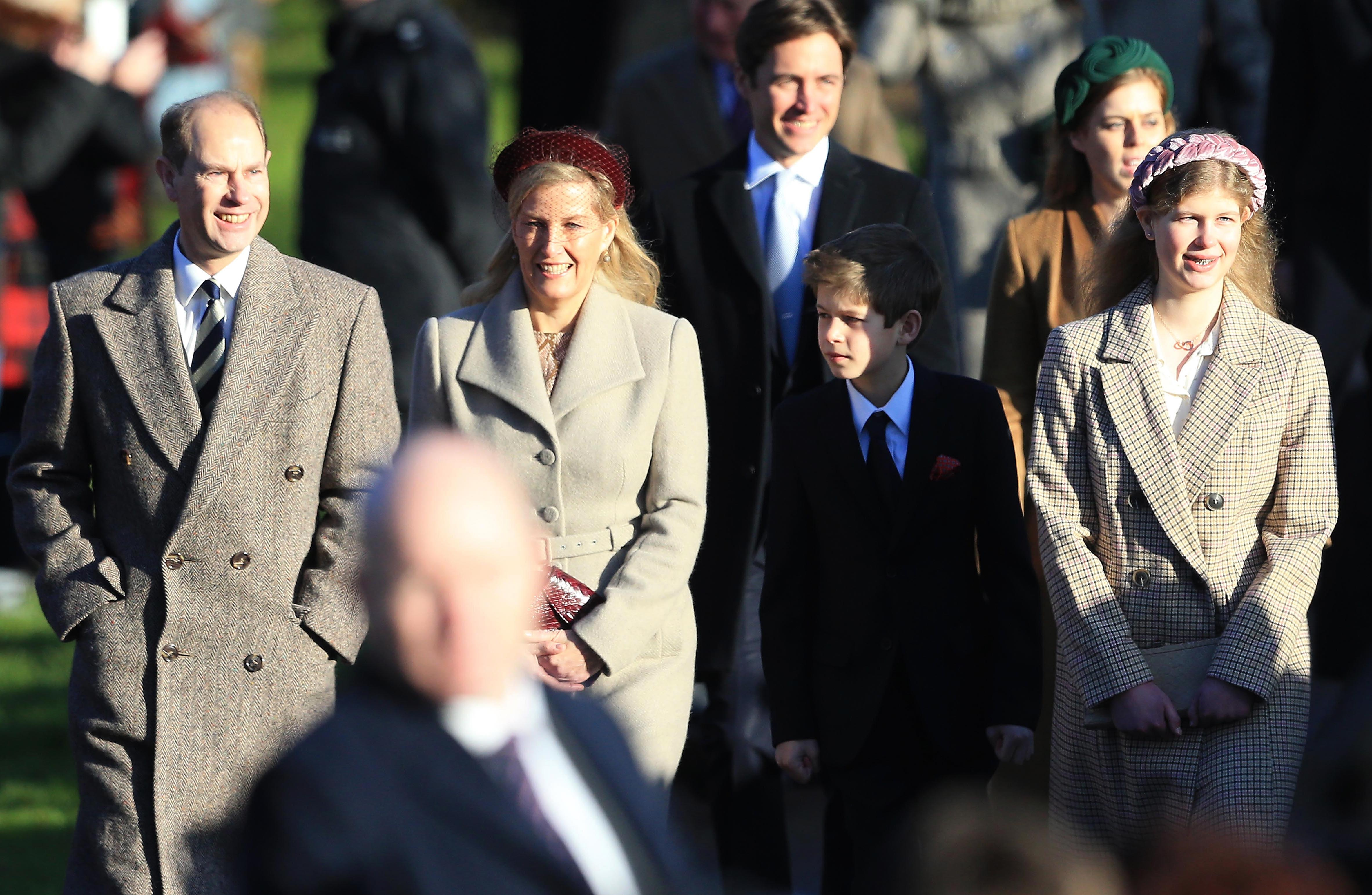 Prince Edward, Earl of Wessex, Sophie, Countess of Wessex, Lady Louise Windsor and James, Viscount Severn attend the Christmas Day Church service at Church of St Mary Magdalene on the Sandringham estate on December 25, 2019 in King's Lynn, United Kingdom.