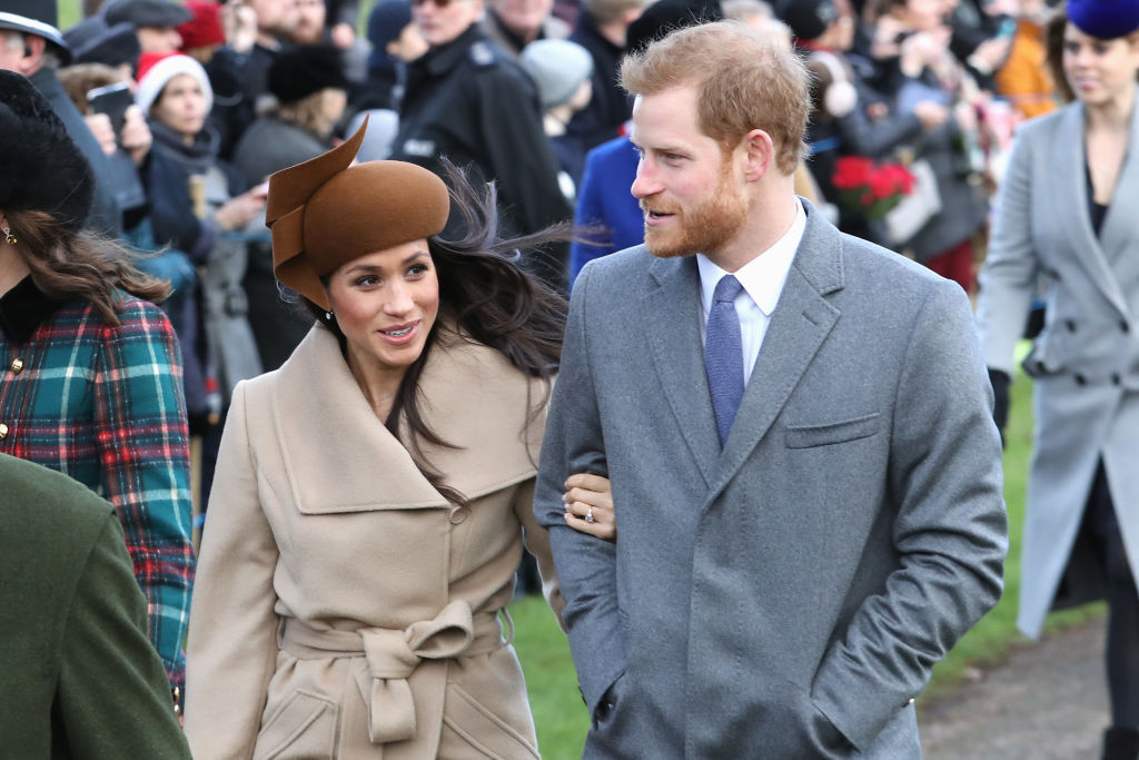 Meghan Markle and Prince Harry attend Christmas Day Church service at Church of St Mary Magdalene on December 25, 2017 in King's Lynn, England.