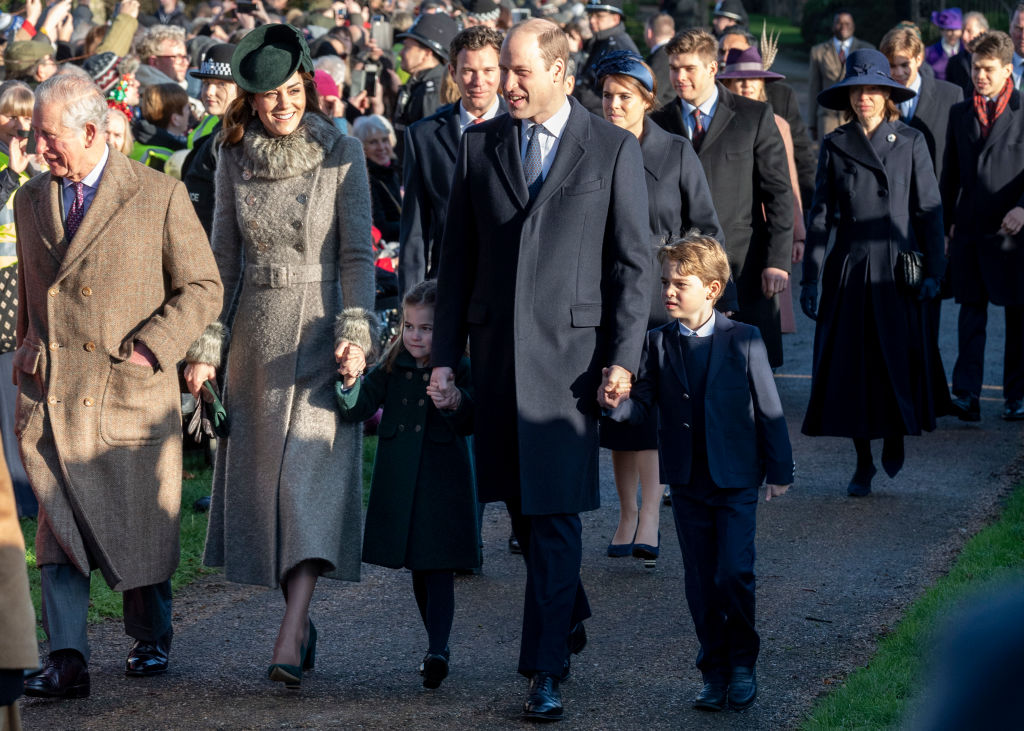 Catherine, Duchess of Cambridge and Prince William, Duke of Cambridge with Prince George of Cambridge and Princess Charlotte of Cambridge attend the Christmas Day Church service at Church of St Mary Magdalene on the Sandringham estate in King's Lynn, United Kingdom on Dec. 25, 2019.