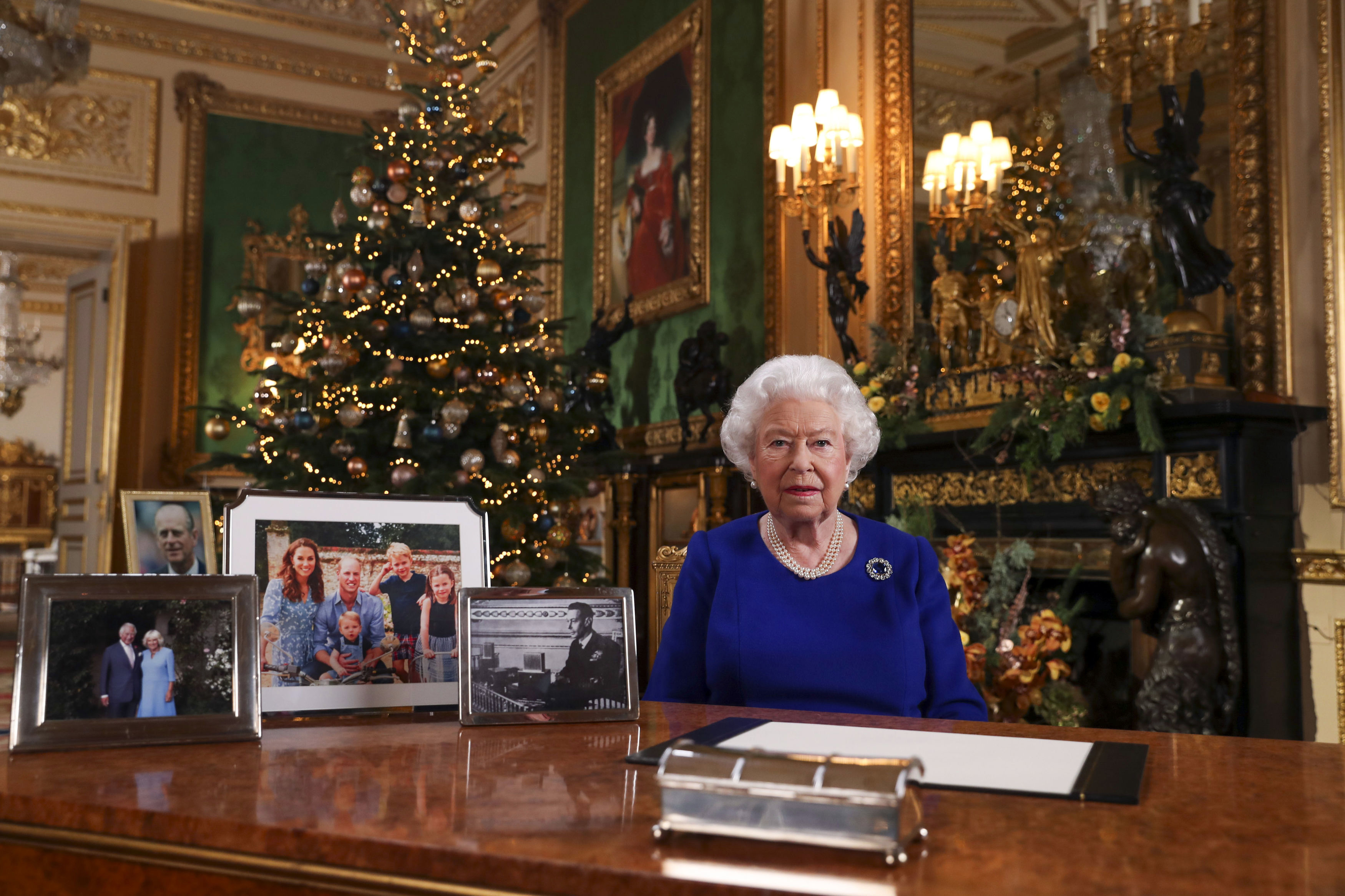 Britain's Queen Elizabeth II poses for a photo, while recording her annual Christmas Day message at Windsor Castle, England in this image released on Dec. 24, 2019.