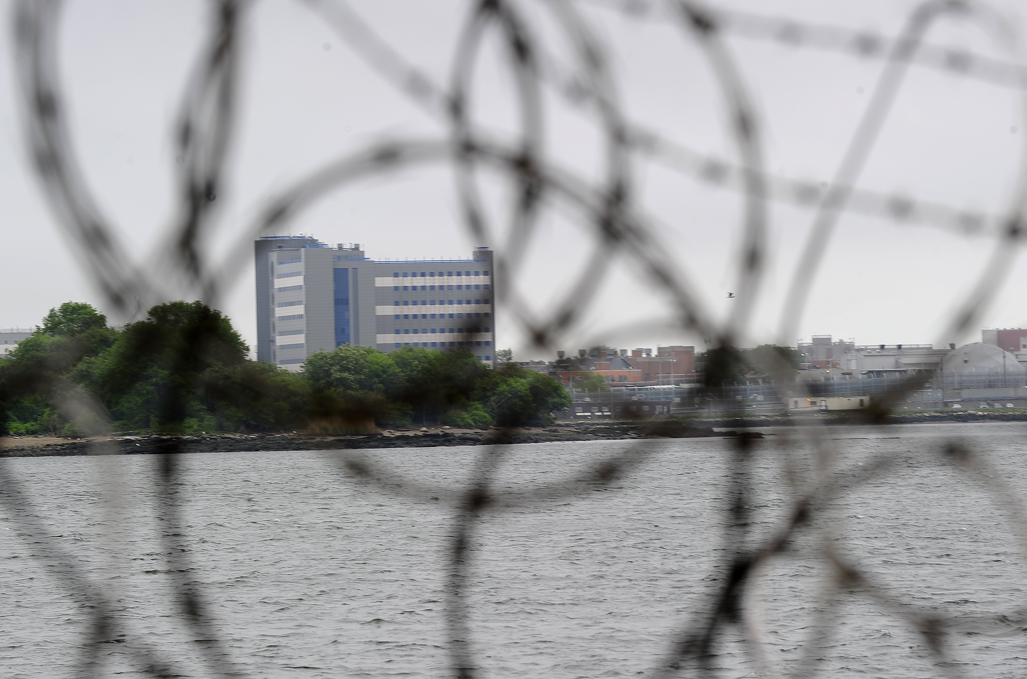 A view of buildings at the Rikers Island penitentiary complex on May 17, 2011.