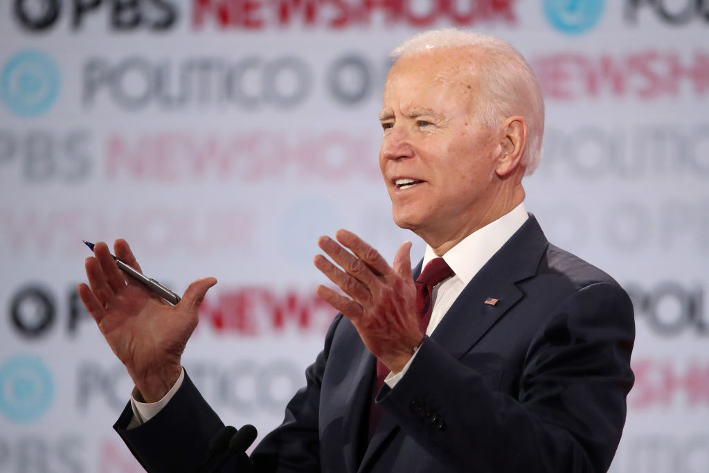 Former Vice President Joe Biden speaks during the Democratic presidential primary debate at Loyola Marymount University on December 19, 2019 in Los Angeles, California.