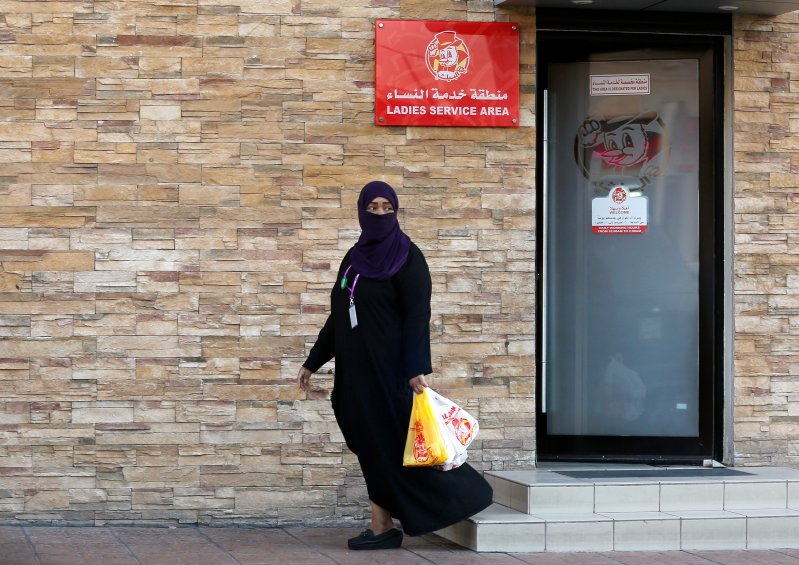 A woman leaves a ladies only service area at a restaurant in Jiddah, Saudi Arabia, on Dec. 8, 2019.