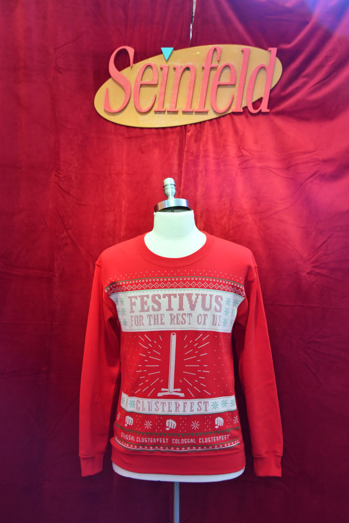 The Festivus sweater is seen during Colossal Clusterfest at Civic Center Plaza and The Bill Graham Civic Auditorium on June 3, 2017 in San Francisco, California.