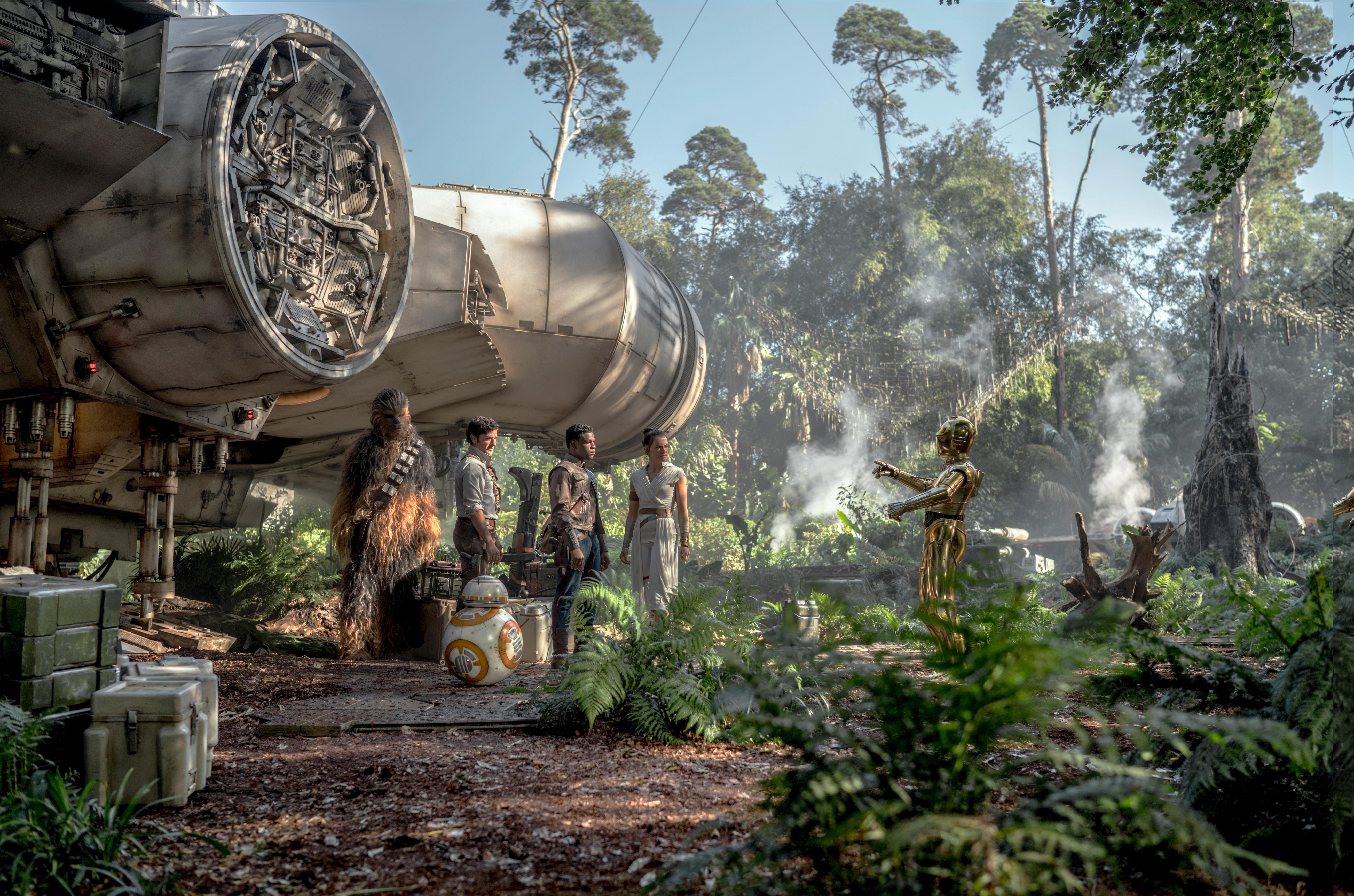 Chewbacca (Joonas Suotamo), Poe (Oscar Isaac), Finn (John Boyega), Rey (Daisy Ridley) and C-3PO (Anthony Daniels) in Star Wars: The Rise of Skywalker