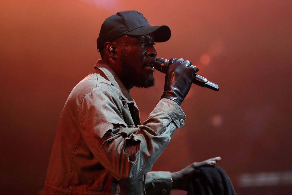 Stormzy performs on stage during the KISS Haunted House Party 2019 at The SSE Arena, Wembley on October 25, 2019 in London, England.