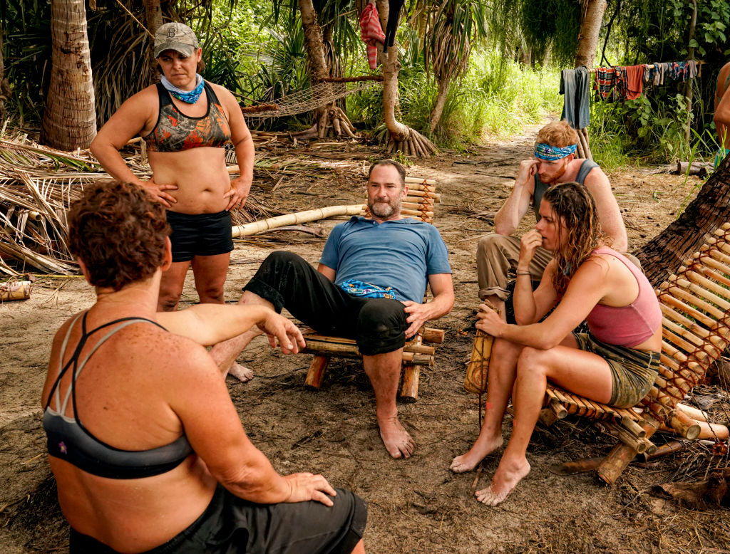 Contestants Janet carbin, Elaine Stott, Dan Spilo, Tommy Sheehan and Elizabeth Beisel during filming of 'SURVIVOR: Island of Idols.'