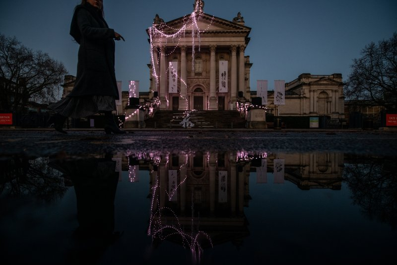 A sculptural installation by artist Anne Hardy is seen on the exterior of Tate Britain on Nov. 29, 2019 in London, England.