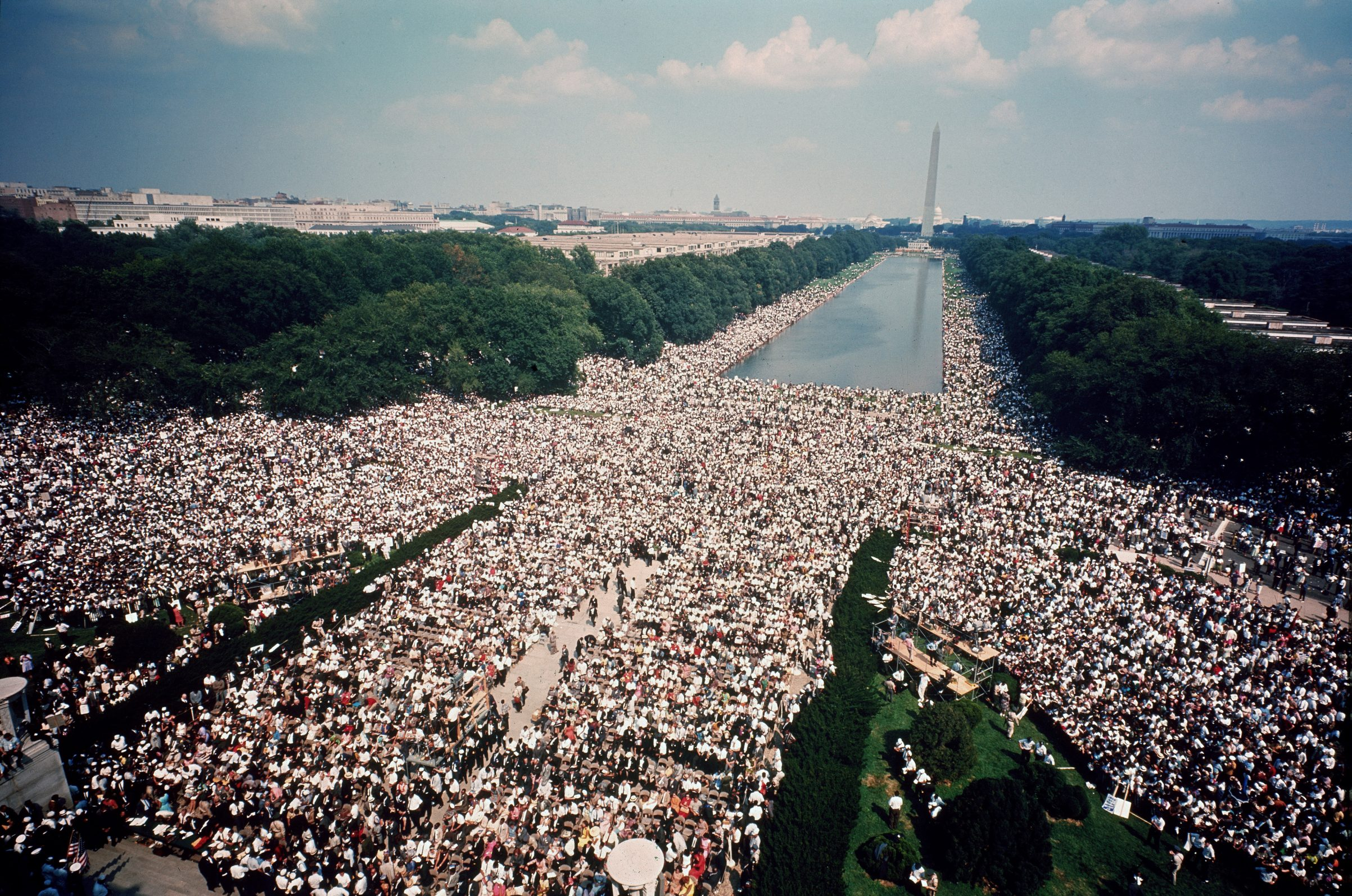 Overhead view of the massive crowd assembled on the Mall in front of the Reflecting Pool and between the Lincoln and Washington monuments during the civil rights March on Washington for Jobs and Freedom, Washington D.C., Aug. 28, 1963.