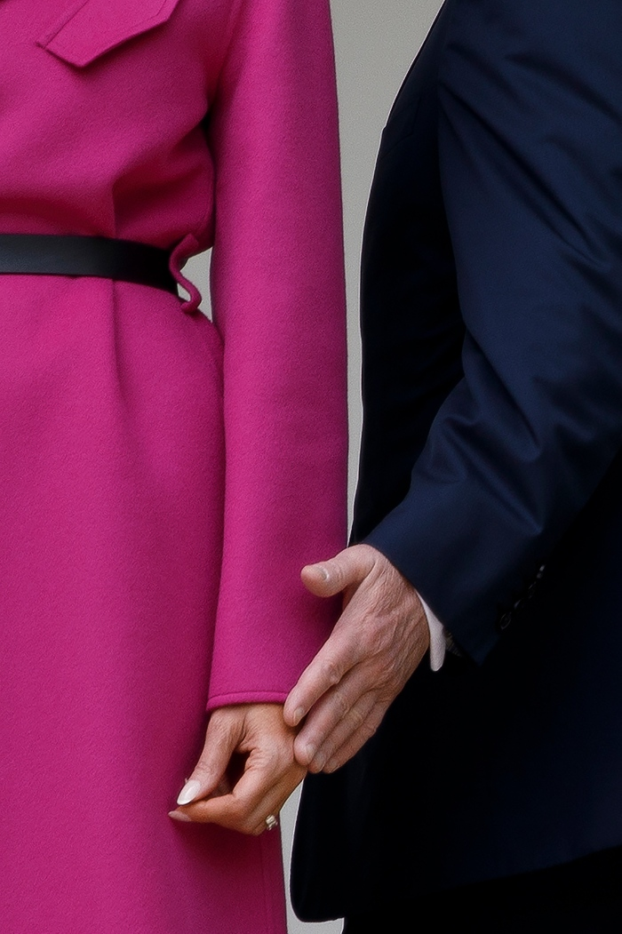 First Lady Melania Trump weathered a tumultuous year for the White House by the side of her husband, as she was in this image on April 11.