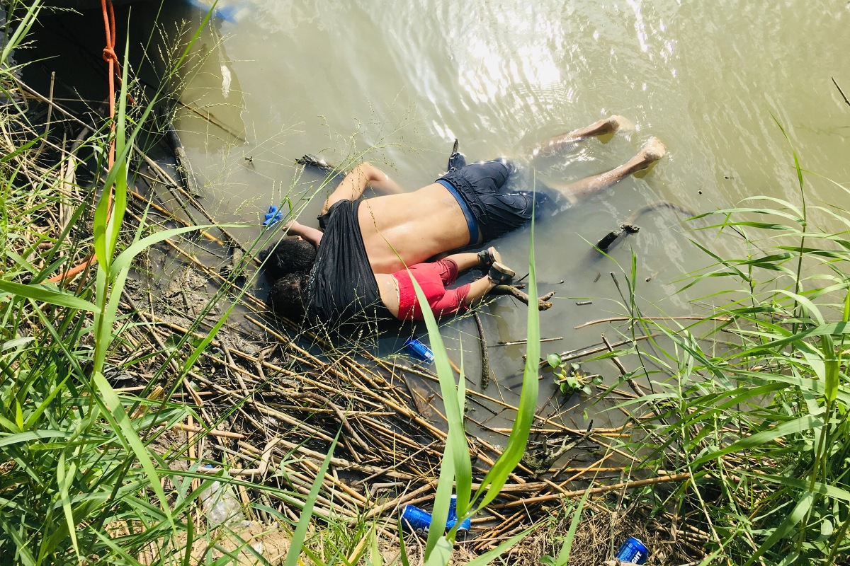 The bodies of Salvadoran migrant Óscar Alberto Martínez Ramírez and his nearly 2-year-old daughter Valeria lying on the banks of the Rio Grande in Matamoros, Mexico, after they drowned trying to cross the river to Brownsville, Texas, on June 24.