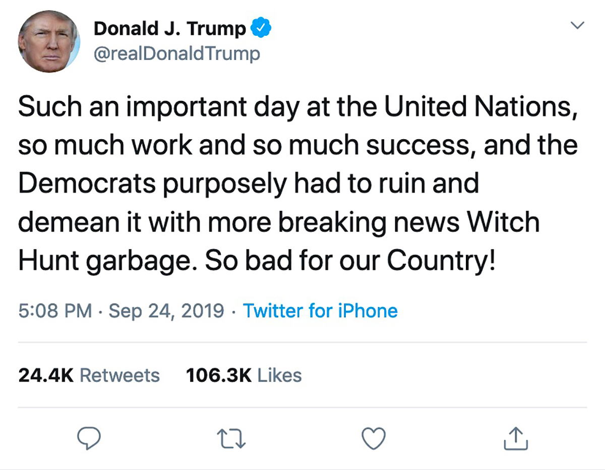 "3.5 min. later: Trump tweets in response: ""Witch Hunt garbage."""