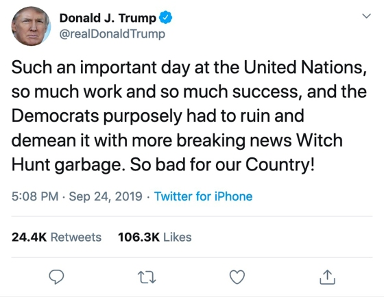 "3.5 min. later Trump tweets in response: ""Witch Hunt garbage."""