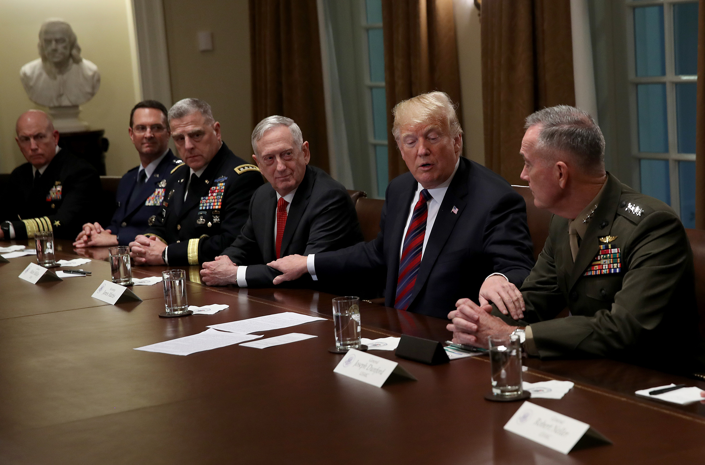 President Trump during a meeting with U.S. military leaders in 2018
