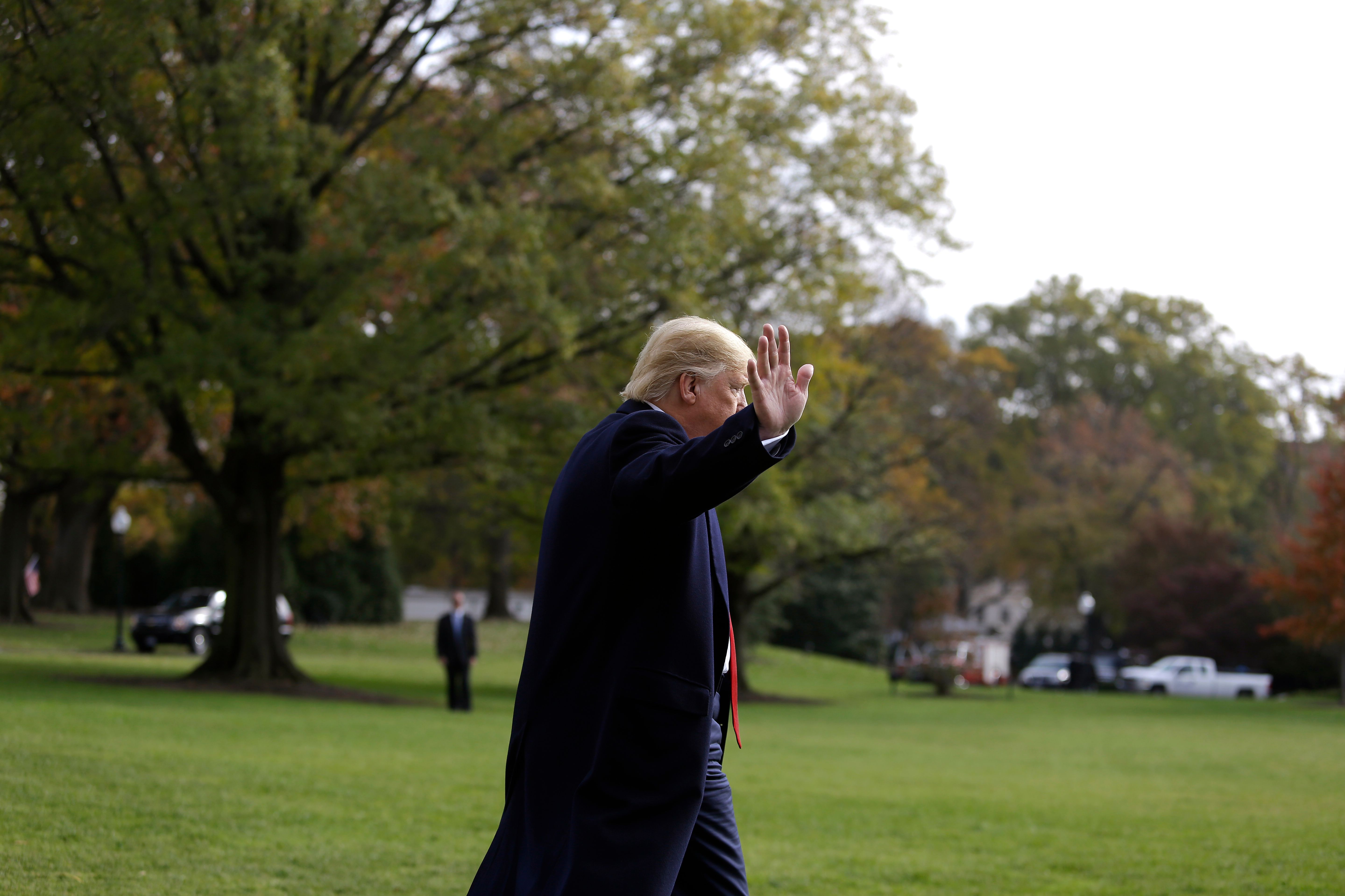 President Donald Trump from the White House before boarding Marine One in Washington, D.C. on Nov. 20, 2019.