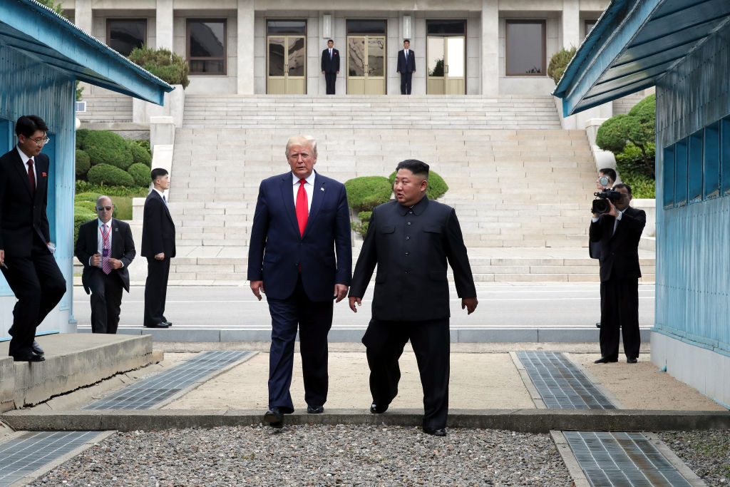 North Korean leader Kim Jong Un and U.S. President Donald Trump inside the demilitarized zone (DMZ) separating the South and North Korea in Panmunjom, South Korea, on June 30, 2019.