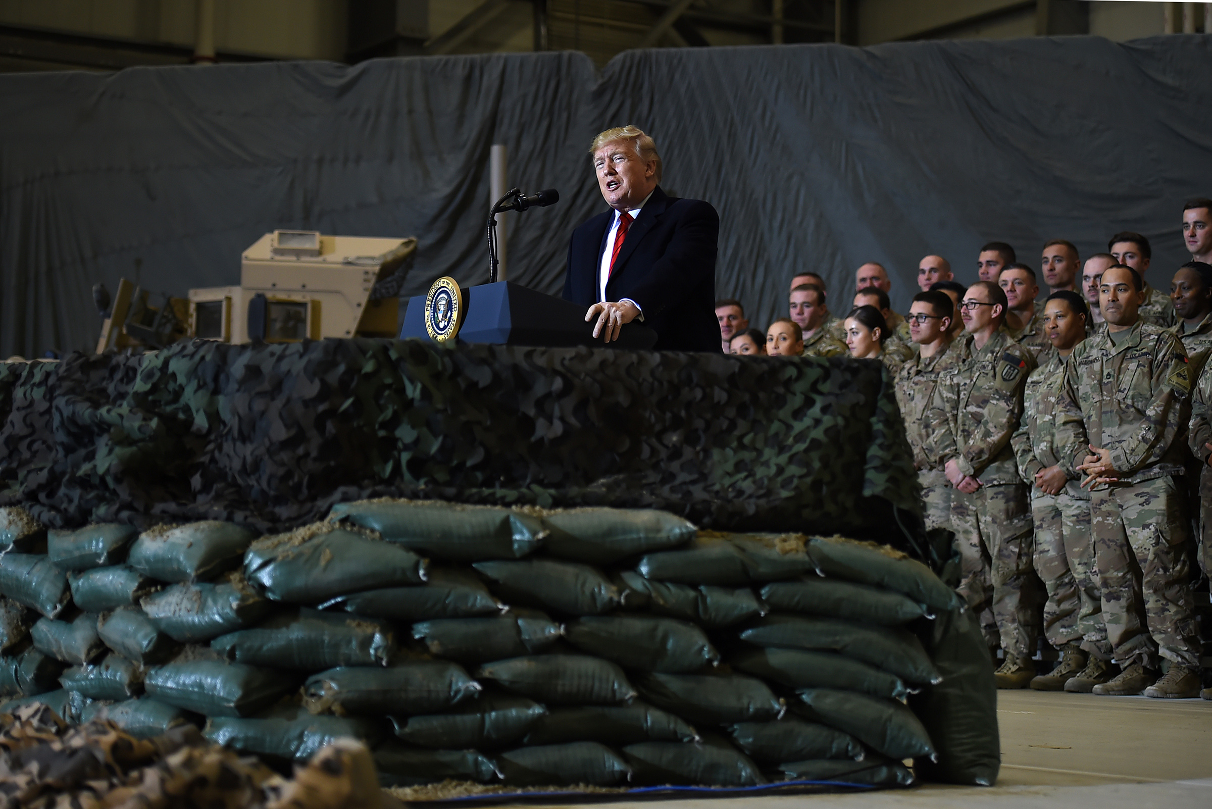 US President Donald Trump speaks to the troops during a surprise Thanksgiving day visit at Bagram Air Field in Afghanistan on Nov. 28, 2019.
