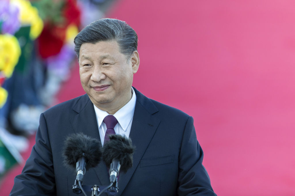 Xi Jinping, China's president, delivers a speech after arriving at Macau International Airport in Macau, China, on Dec. 18, 2019.