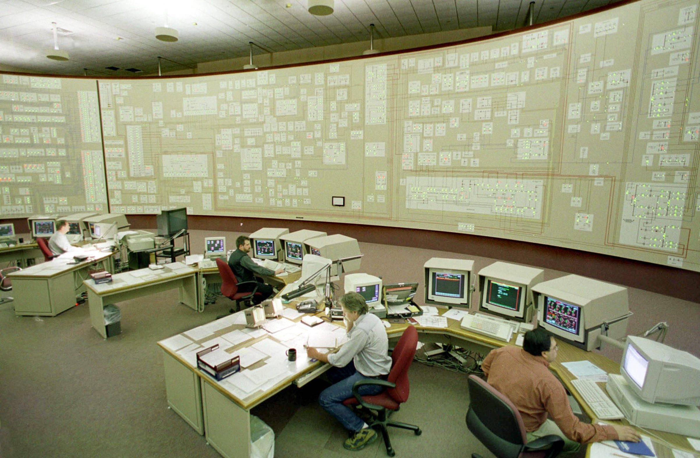 The power grid is lit in the final days of Y2K testing at the Niagara Mohawk Power Company control facility in Buffalo, N.Y., Dec. 28, 1999. The company planned for more than 1000 staff to be on duty system-wide on New Year's Eve to be ready for any problems.