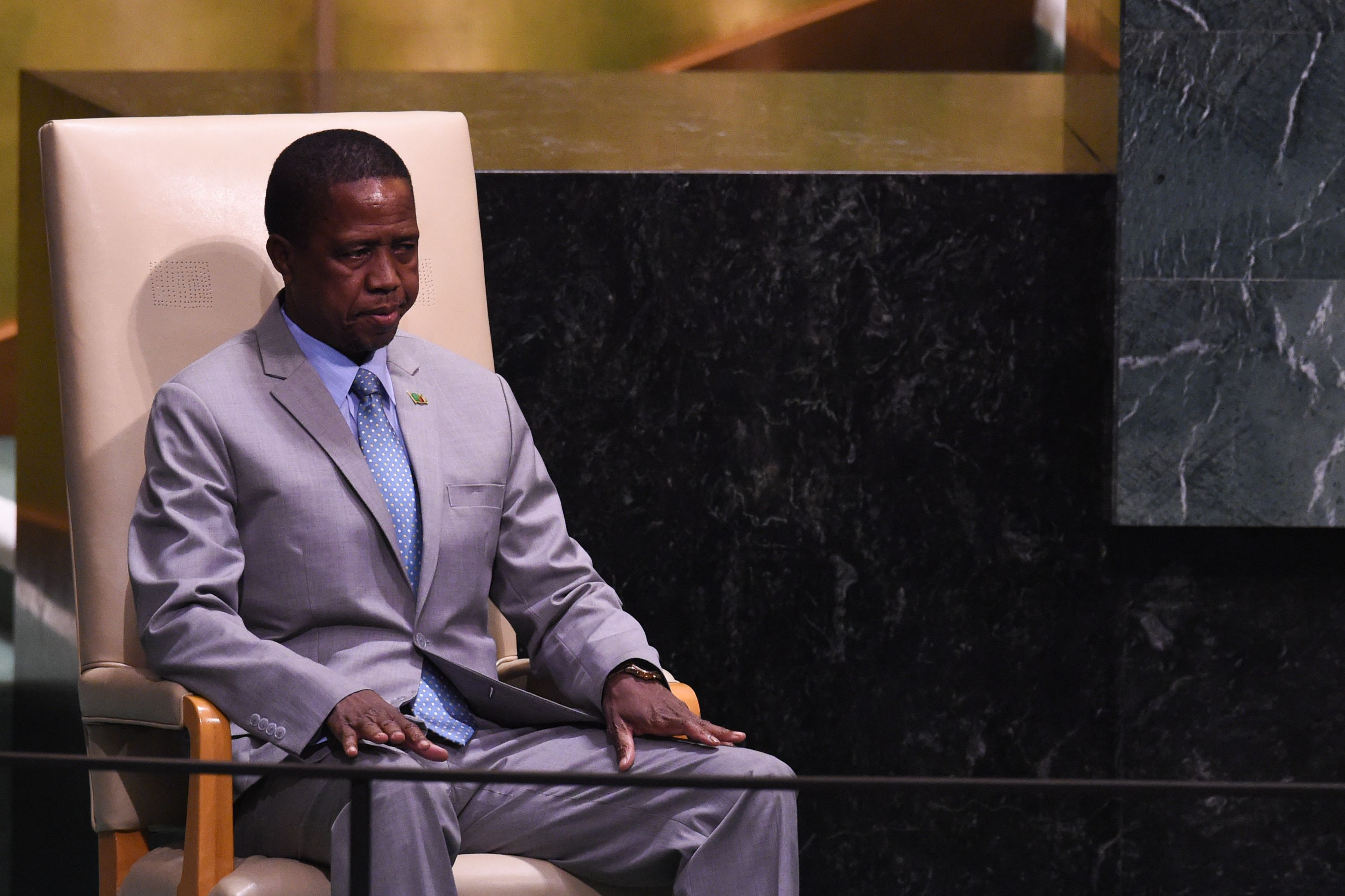 Zambian President Edgar Lungu waits to speak at the General Debate of the 73rd session of the General Assembly at the United Nations on Sept. 25, 2018 in New York.