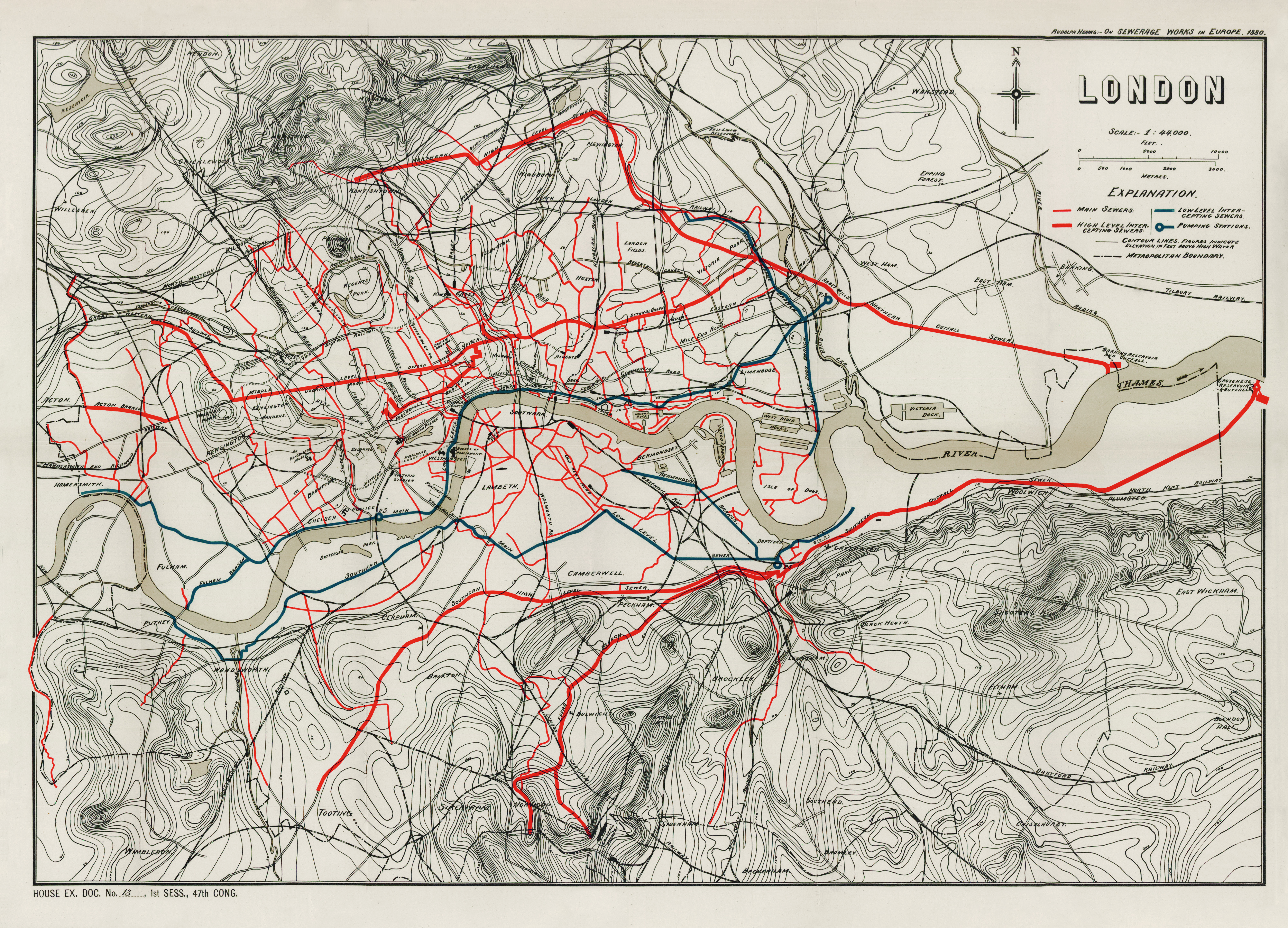 Sir Joseph Bazalgette was the creator of London's great Victorian sewage system, depicted here on this map. The most prominent red lines are the main interception sewers.