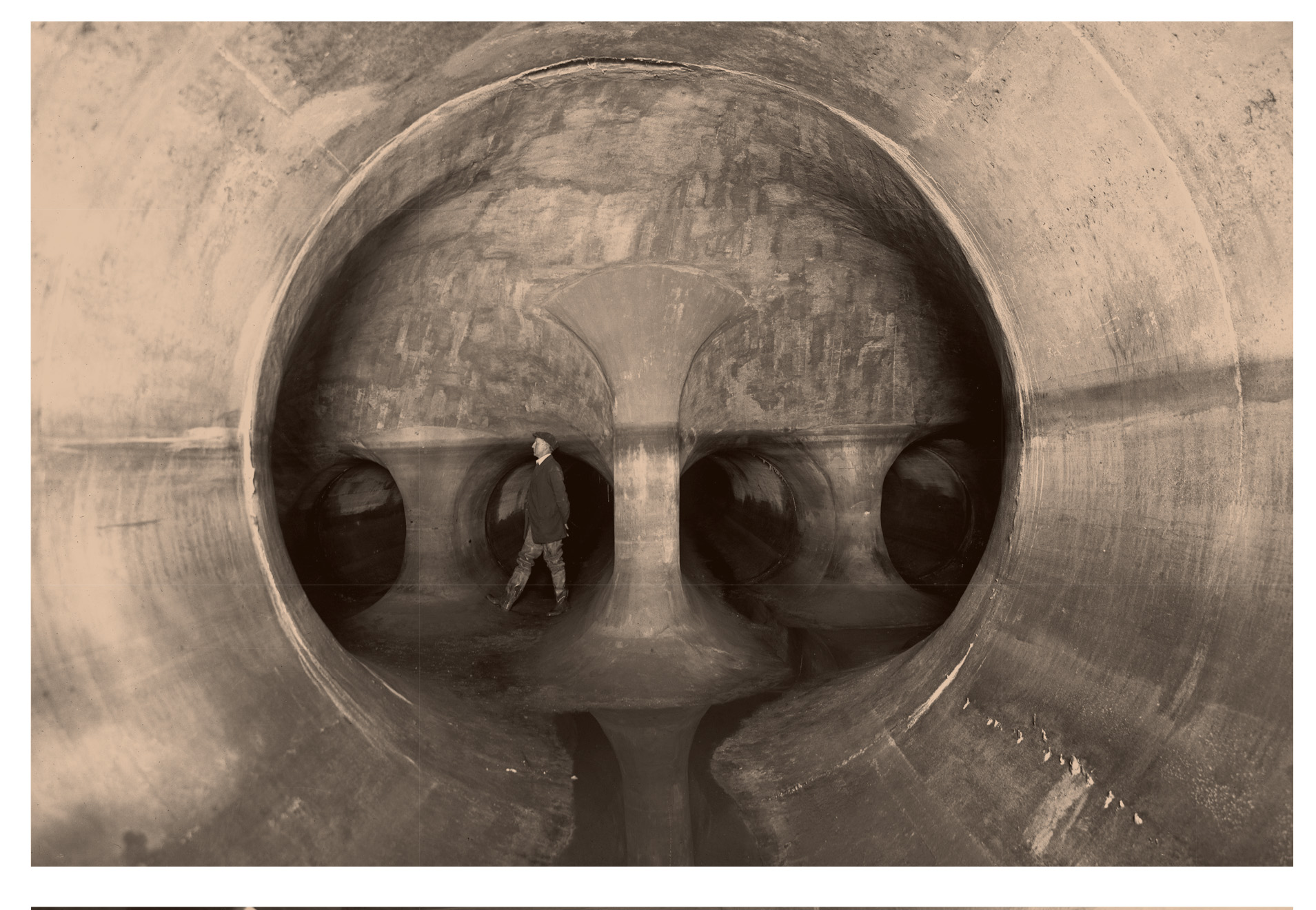 Construction of interceptor sewers in the 1920s—New Jersey, U.S. The main interceptor is 22 miles long and connects to 18 miles of branch sewers.