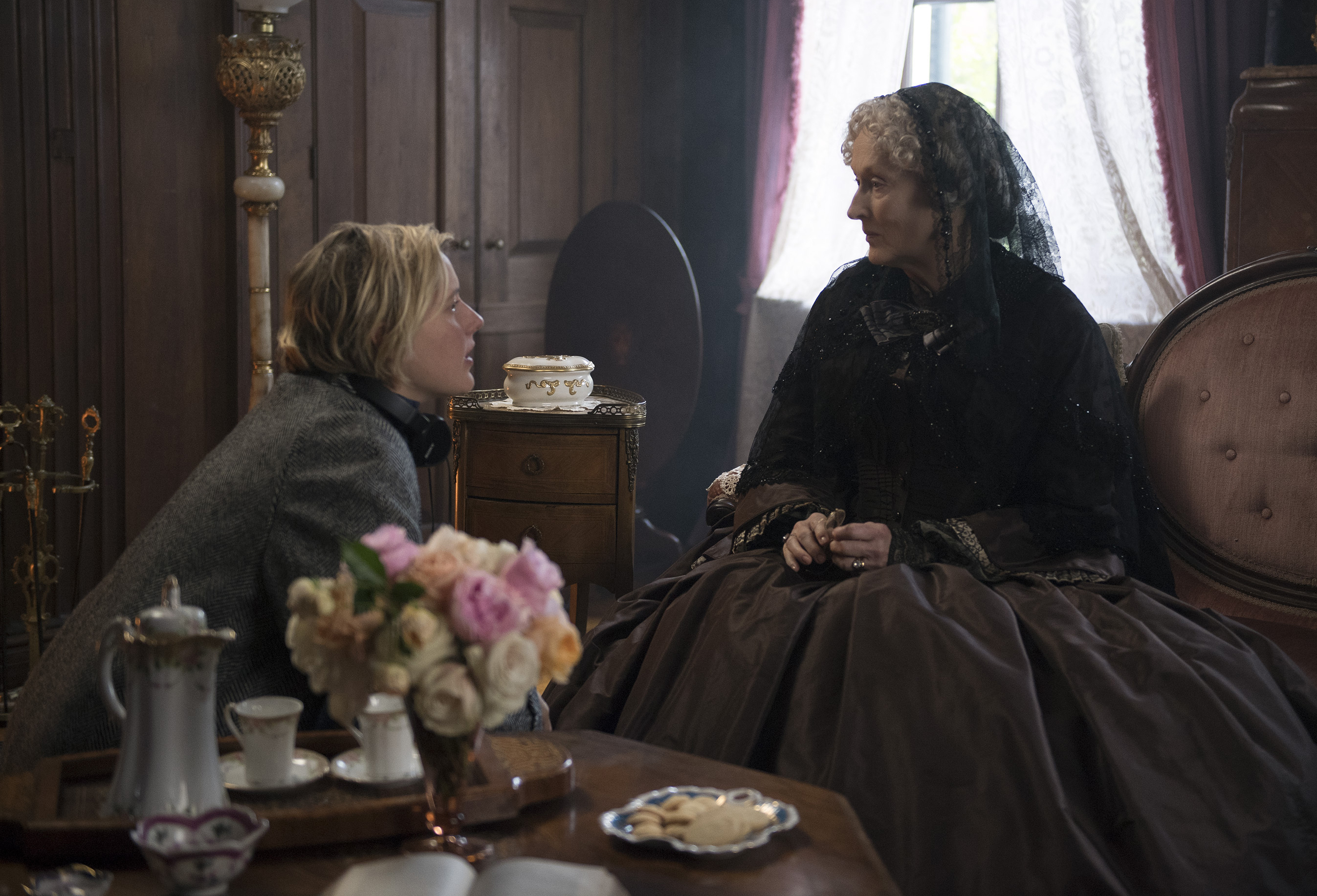 This image released by Sony Pictures shows, writer-director Greta Gerwig, left, and actress Meryl Streep on the set of  Little Women.  Women directed 12 of 2019's top 100-grossing films in 2019, according to a study released Thursday by USC Annenberg Inclusion Initiative Female filmmakers.