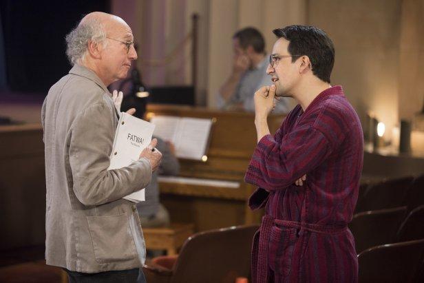 Larry David and Lin-Manuel Miranda in Season 9 of 'Curb Your Enthusiasm.'